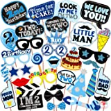WOBBOX Second Birthday Photo Booth Party Props Blue for Baby Boy , 2nd Birthday Decorations for Boys , Kids Birthday Party De