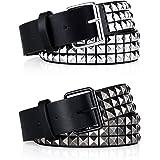 SATINIOR 2 Pezzi Cintura con Borchie Cintura Nera con Borchie Cintura Piramidale in Metallo per Jeans, Pantaloni, Nero, Argen
