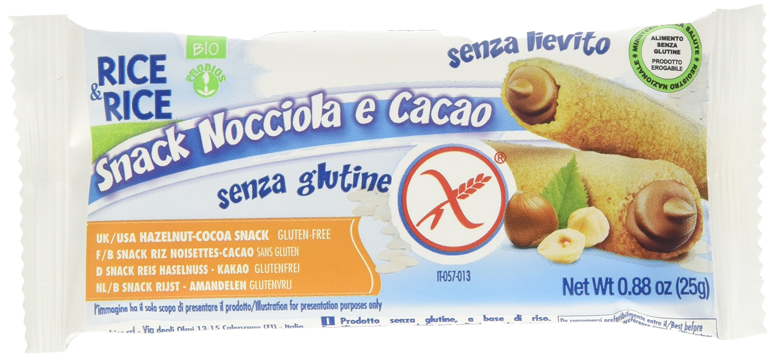 Probios Snack di Riso alla Nocciola - 24 confezioni da 25 gr, Senza glutine 1 spesavip