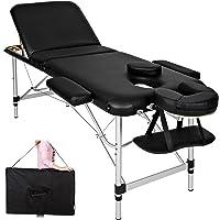 TecTake Table de massage pliante aluminium cosmetique lit de massage portable noir + housse de transport