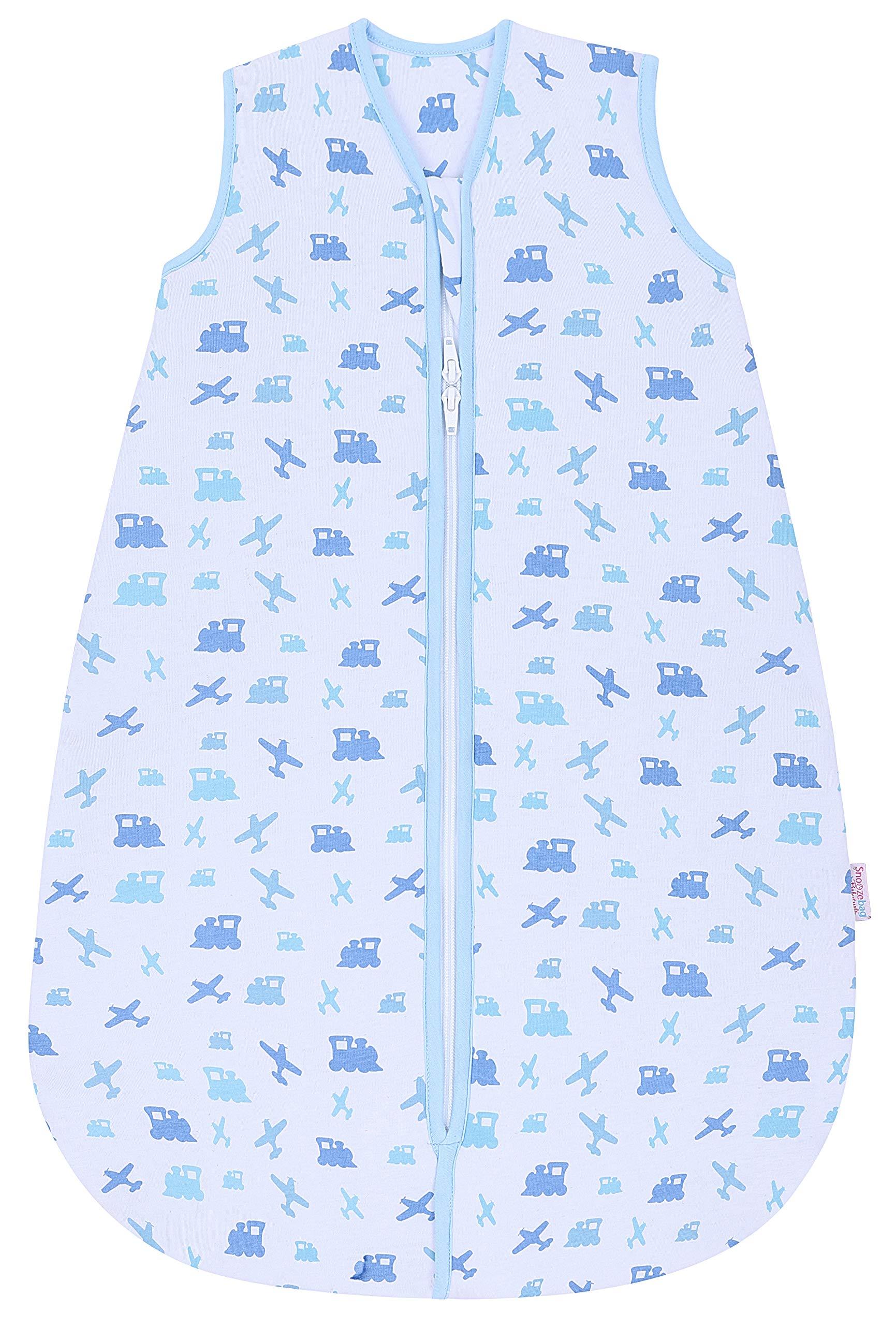 Snoozebag Saco de Dormir Azul diseño de Aviones y Trenes, 100% algodón, 2,5TOG Azul Azul Talla: 18-36 Meses