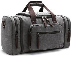 LOSMILE Canvas Reisetasche,Weekender Tasche Sporttasche Handgepäck für Damen und Herren mit der Großen Kapazität. (Grau)