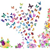 KATOOM 12 Sheets Butterfly Tattoo Stickers,Colorful Girls Face Temporary Tattoo Waterproof Forehead Eyebrow Finger Sticker fo