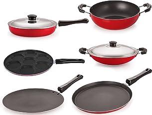 Nirlon Non-Stick Aluminium Cookware Set, 6-Pieces, Red (26FT12CTFP12KD12ACUP)