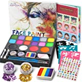Jojoin 16 Colores Pinturas Cara, Pintura Facial, Maquillaje al Agua para Pascua/Carnaval, con 1 Libro Tutorial, 94 Pegatinas