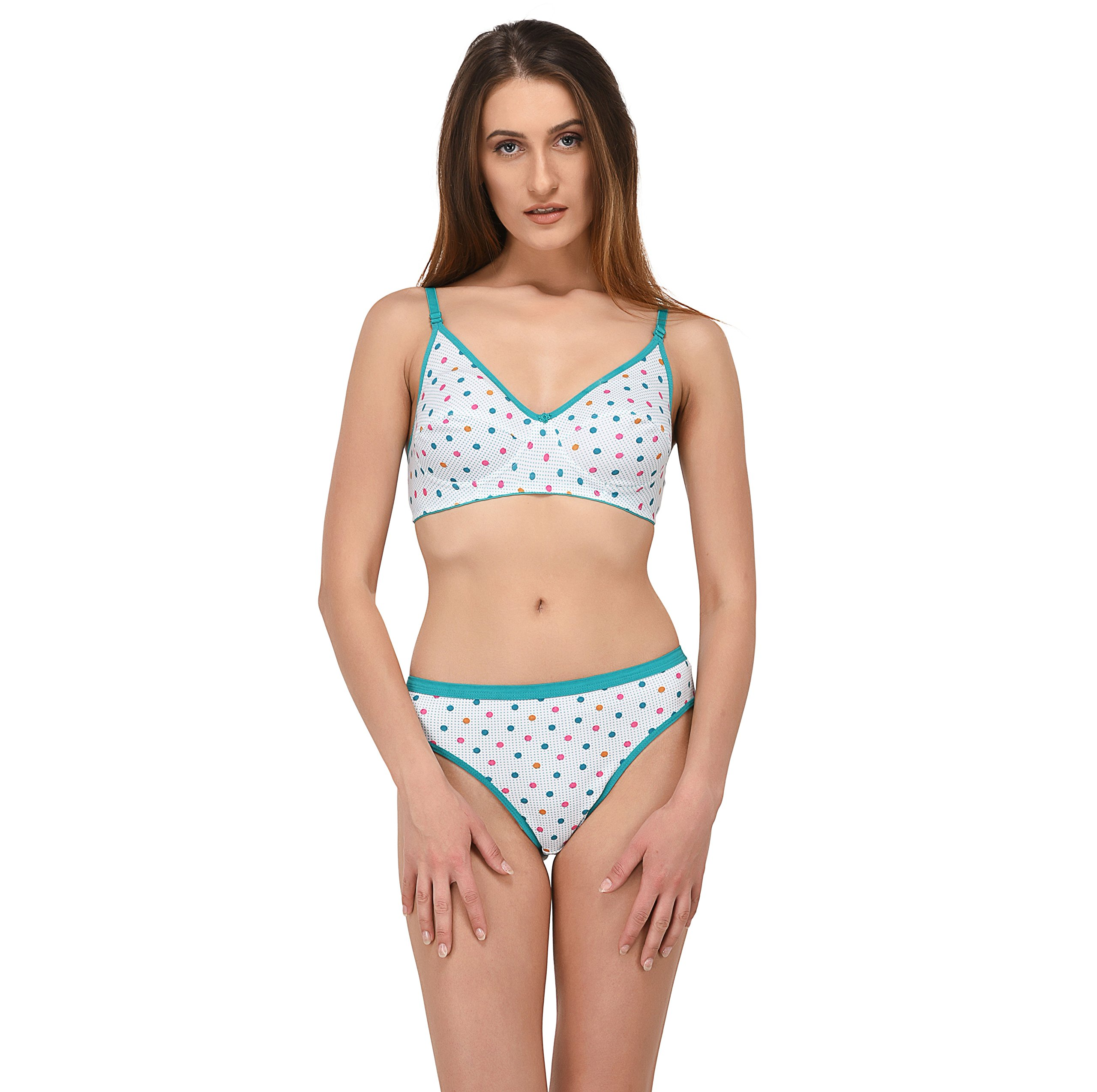 Elina Women s Green B-Cup Hosery Polka Dots Bra   Panty Set. (Set of ... ebf7fb98e