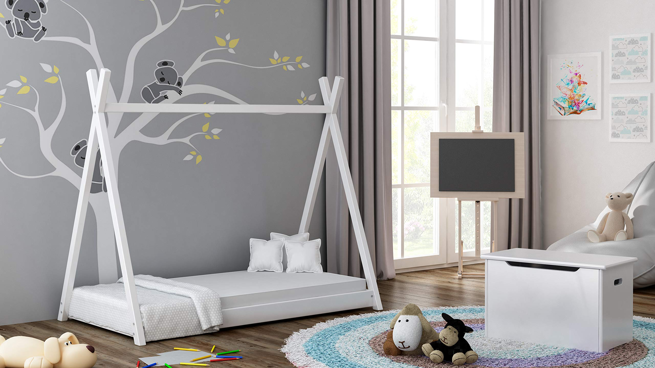 Children's Beds Home Solid Wood Single Canopy Bed - Titus Tepee Style for Kids Children Toddler Junior - No Mattress Included (160x80, White) Children's Beds Home Internal Dimensions in cm's are 140x70, 160x80, 180x80, 180x90, 190x90, 200x90 (External Dimension: 148x83, 168x93, 188x93, 188x103, 198x103, 208x103) Total height up to the top of the structure is 143 cm Made of Solid wood. Has load capacity of up to 190kg, Very Safe Rounded edges on all parts Very Stable and Robust Construction 2