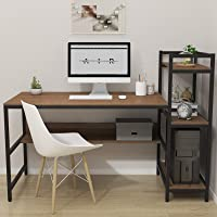 Dripex Bureau Informatique avec Etagères de Rangement, Table de Bureau d'Ordinateur pour Chambre Salon et Maison 136 x…