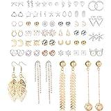 CASSIECA 40 Paia Orecchini Set per Donna Ragazza Orecchino Geometrico Perle Artificiali Pallina Stella Luna Triangolo CZ Orec