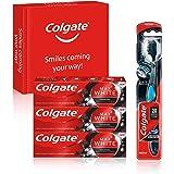 COLGATE Kit Blanqueante Al Carbón con Pasta de Dientes Max White Carbón (3 x 75 ml) y Cepillo Blanqueador Max White 360
