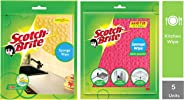 Scotch-Brite Sponge Wipe, Pack of 3 (Color May Vary) & Sponge Wipe (5 Pcs) Combo