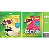 Scotch-Brite Sponge Wipe, Pack of 3 (Color May Vary) & Sponge Wipe (5 Pcs) Combo