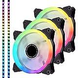 EZDIY-FAB Ventilateur RGB LED adressable 120mm PWM,avec Bandes de LED,Synchronisation avec la Carte mère,Ventilateurs en boît