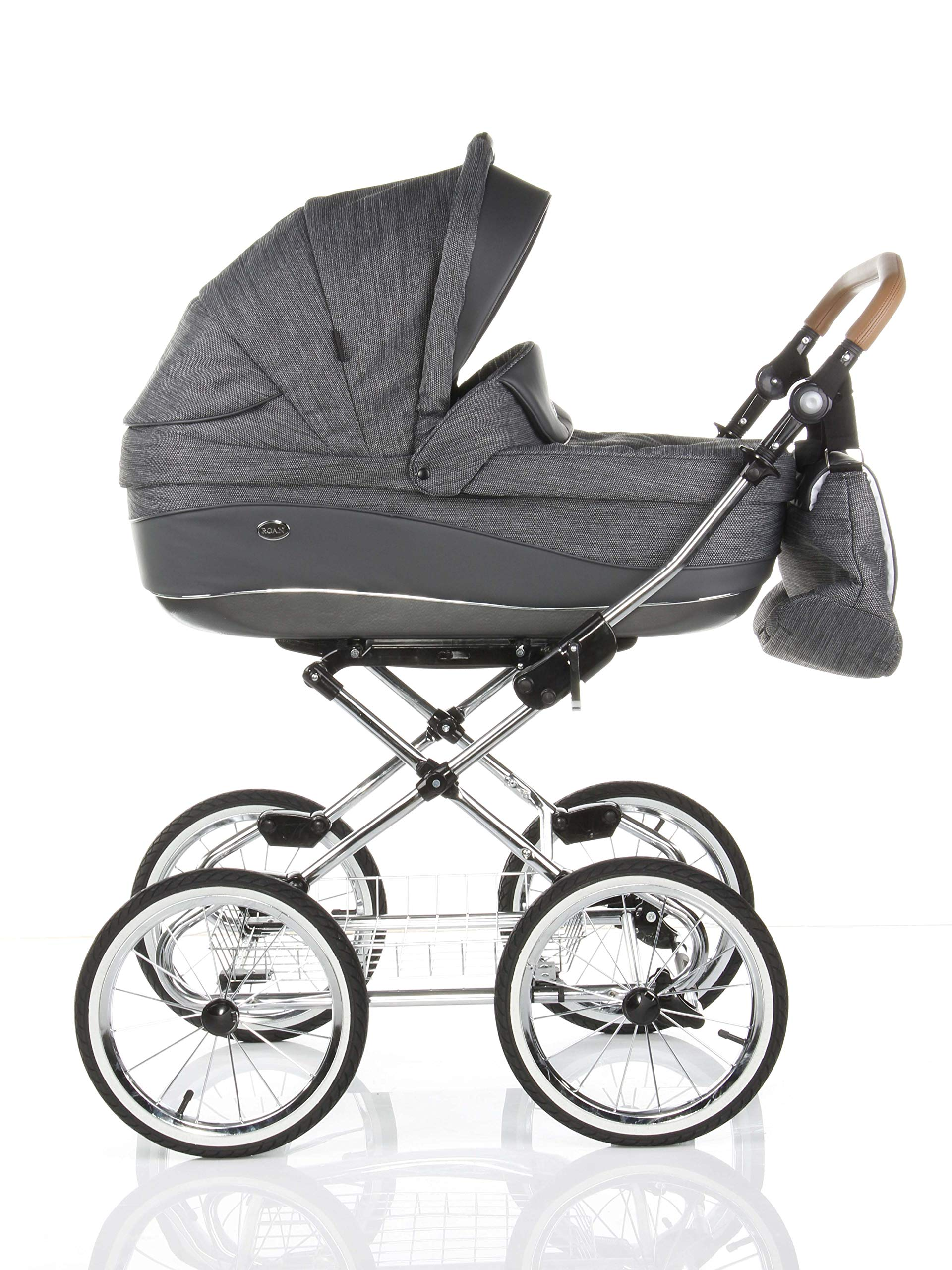 Children's Pram Buggy Stroller Combination Car seat Classic Retro Baby Carrier ROAN Emma (E-81 Dark Grey Melange-Grey Leather, 2IN1) JUNAMA Frame / wheels Sturdy and lightweight aluminum frame construction with folding function 1-click system for easy assembly and disassembly Practical carrying handle for easy storage of the folded frame Wheels for inflating (14 inch) removable wheels Brake system with central brake Height-adjustable push handle - 10-fold matching shopping basket Dimensions folded with wheels: 86 x 60 x 40 cm folded without wheels: 76 x 60 x 26 cm Total height of the stroller to hood top: 106 cm Height of the tub from the ground: 60 cm Wheelbase External dimensions: 80x 58 cm Variable height of the push handle: 77- 119 cm Weight of the frame incl. Wheels and carrying bag 15 kg Carrycot Length and width of carrycot outside: 88 x 42 cm Carrying bag length and width inside: 76 x 35 cm Sturdy plastic tub with comfortable mattress and side protection Ventilation slots on the plastic tub The baby car seat 0-13 kg Maxi-Cosi in black incl. Adapter 3