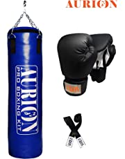 Aurion Synthetic Leather Punching Bag- with Free Chain Heavy Bag