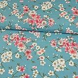 Decoratieve stof kersenbloesem turquoise roze canvasstof decoraties per meter bloemen - prijs geldt voor 0,5 meter