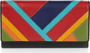 Visconti ® Portafoglio Donna Vera Pelle con protezione RFID Porta Carte di Credito con Portamonete Borsellino Portafogli Porta Banconote -COLORADO - Multicolore