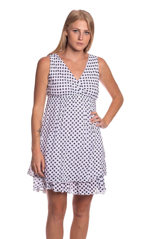 Abbino 8560 Freizeitkleid mit Punkten Damen - Made in Italy - 8 Farben - Übergang  Frühling Sommer Herbst Feminin Festlich Damen Kleid Elegant Verführerisch  ...