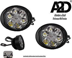 A2D 6 LED Small Handle Mirror Mount AUX Bike Fog Lamp Light Set of 2 White-Hero Passion Pro ES