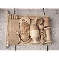 Cestino dei tesori Montessori, 14 oggetti in legno per bambino fatto a mano