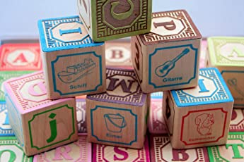 Holzbausteine Deutsch Alphabet, ABC Blöcke 46 mm