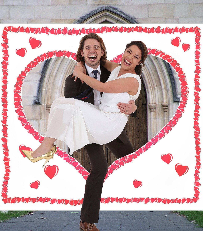 galleryy.net Just Married Hochzeitsherz ausschneiden INDIVIDUALISIERT mit 2 Namen