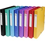 Exacompta - Réf. 50400E - Carton de 8 boites de classement Exabox en carte lustrée avec élastique 25x33 cm dos de 40 mm- Coul