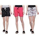 Club A9 Women's Cotton Printed Regular Shorts - Pack of 3 (Navy Blue, Grey, Pink)