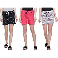 Club A9 Women Cotton Printed Shorts | Lounge Shorts(Pack of 3)