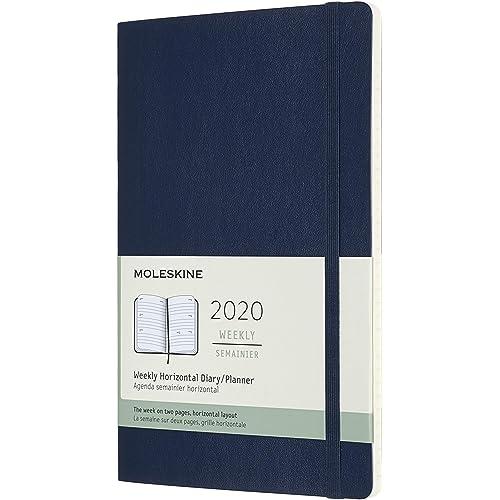 Moleskine 12 Mesi 2020 Agenda Settimanale Orizzontale, Copertina Morbida e Chiusura ad Elastico, Colore Blu Zaffiro, 13 x 21 cm, 144 Pagine