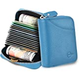 MUCO Credit Card Holder RFID Blocking Genuine Leather Credit Card Wallet Purse with Zipper for Women Men (Light Blue)