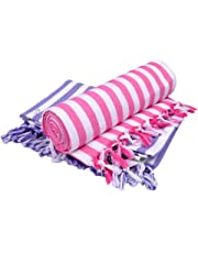 Sathiyas Supreme Turkish 480 GSM Cotton Bath Towel (Set of 2, Lavender and Pink)