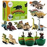 LIHAO 12 Coches Juguetes de Dinosaurios con Huevos Mini Coche de Carreras Juegos Vehículos Dinosaurios Realistas Juguetes Reg