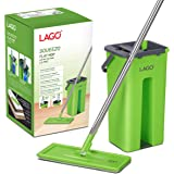 LAGO Flat MOP SQUEEZO with 3XL MOPHEAD (33cmx11.5 cm) and 3 Microfiber Carpet Pads, 126cm Stainless Steel Handle- Green, Buck