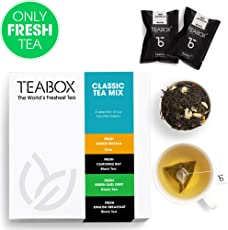Teabox Teas Sampler, Assam Masala Chai Black Tea, English Breakfast Tea, Earl Grey Green Tea, Chamomile Ray Tea, Freshest Teas, 36g (Count 16)