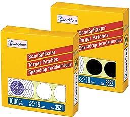 2000er Pack Avery Zweckform Schusspflaster [1000 schwarz + 1000 weiß] Ø 19 mm, vorgedruckt, 2 Rollen/2.000 Etiketten