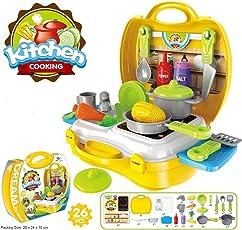 KISMIS MAGNIFICO 26 Kitchen Set/21 Fashion 18 PC Doctor Suitcase Carry Case Ones Chef/Beautician/Doctor (Multicolour, KISMIS-CASE)