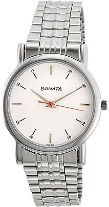 Sonata Analog White Dial Men's Watch  NJ7987SM03W