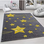 Çocuk odası halısı sevimli yıldız desenli Gri Sarı renkli