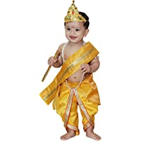 Raj Costume Baby Krishna Brocade Fabric Janmashtami Mythological Character Costume(0-2 Years) (1 Years)