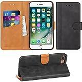 Adicase iPhone 7 Plus Hülle Leder Wallet Tasche Flip Case Handyhülle Schutzhülle für Apple iPhone 7 Plus / 8 Plus 5,5 Zoll (Dunkelgrau)
