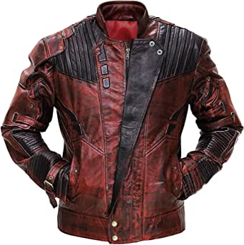 Red Smoke Star Galaxy 2 Distressed Maroon Leather Jacket