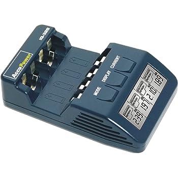 AccuPower APIQ328 Schnell-Ladegerät  mit Kapazitätsanzeige, Entladefunktion, LCD-Displayanzeige für Micro/AAA u. Mignon/AA NiCd, NiMH Akkus
