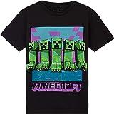 Minecraft Camiseta Niño, Ropa Niño Algodon 100%, Camisetas para Gamers en Negro y Gris, Regalos para Niños y Adolescentes Eda