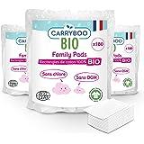Carryboo - 540 Carrés de Coton Bio - Lot de 3 Packs de 180 Pads de 8x10 cm- Fibre 100% Naturelle, 100% Coton Bio - Sans Chlor