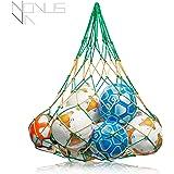 PREMIUM Ballnetz [GROß & ROBUST] Balltragenetz Ball Carry Net [5 mm dick] passend für 10-15 Bälle der Größe 5 [besonders belastungsfähig mit Edelstahlring] grün-gelb von Novus Via