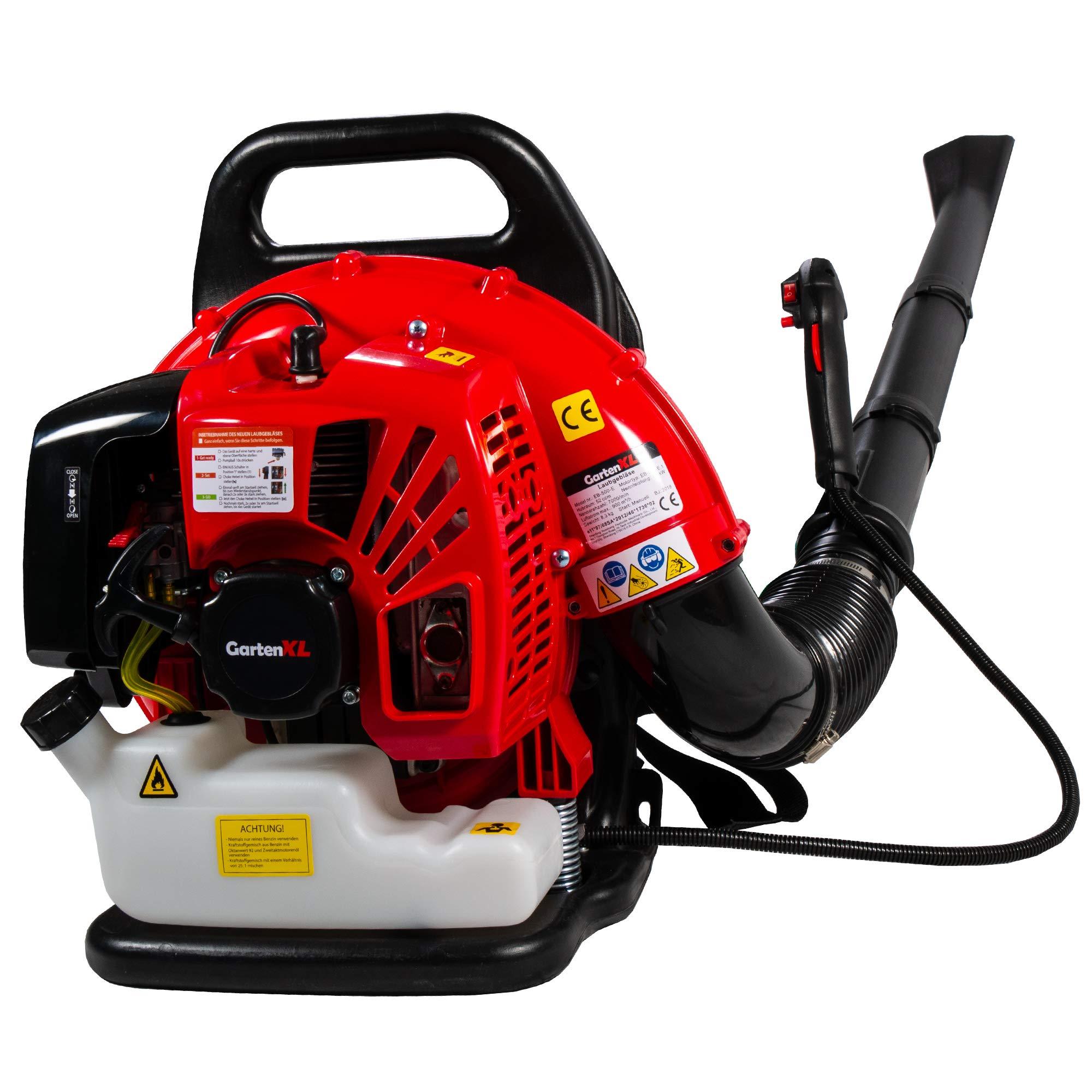 GartenXL EB-500-E 2-Takt Benzin-Laubbläser mit Rückenpolsterung, 2 PS