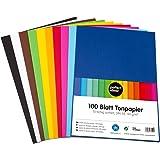 perfect ideaz 100feuilles de Cartonette A4, Papier à dessin, teinté dans la masse, en 10coloris différents, grammage 130g/