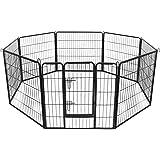 FEANDREA Welpenauslauf Welpenlaufstall Laufgitter Hundegehege Laufstall für Hunde Kaninchen kleine Haustiere 8-Eck schwarz 80 x 80 cm PPK88H