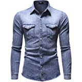 ARbuliry Men Shirts,Stripe Cotton Denim Men Casual Shirt with 2 Chest Pocket Long Sleeve Full Buttons Breathable Lapel Men To